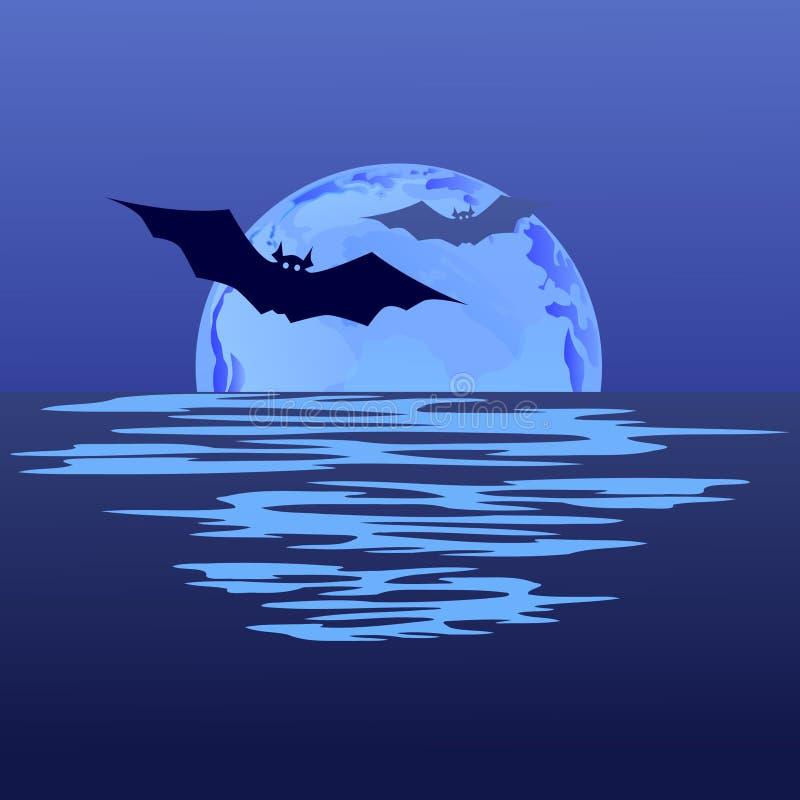 Летучая мышь на предпосылке ночи луны иллюстрация штока