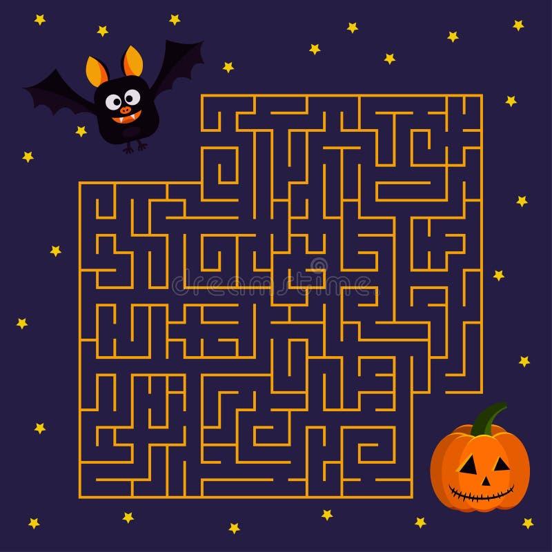 Летучая мышь помощи милая для того чтобы найти справедливо его тыква хеллоуина друга в иллюстрации вектора лабиринта в стиле муль иллюстрация штока