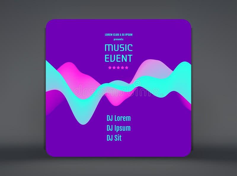 Летчик или знамя события музыки Дизайн партии с местом для текста волнистая предпосылка 3D с динамическим воздействием r иллюстрация вектора