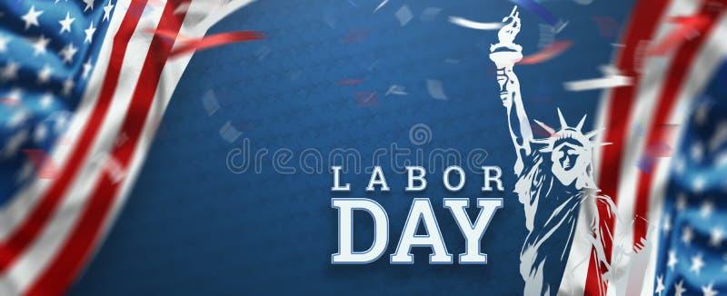 Летчик, реклама продвижения продажи Дня Труда Американские обои Дня Труда Скидка, шаблон дизайна r : иллюстрация вектора