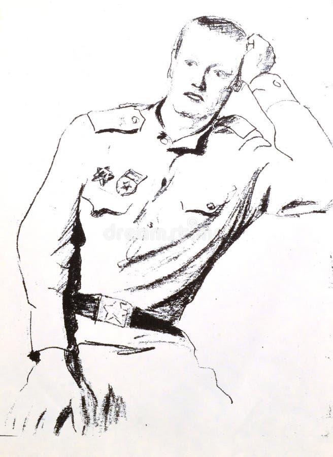 Леты армии солдата рисуя стоковая фотография rf