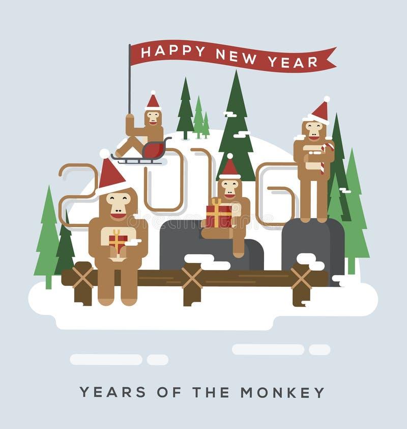 Леты обезьяны 2016 иллюстрация вектора