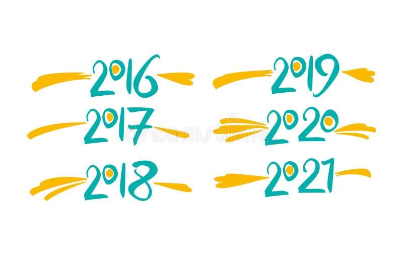 Леты 2016 2017 2018 2019 2020 2021 иллюстрация вектора