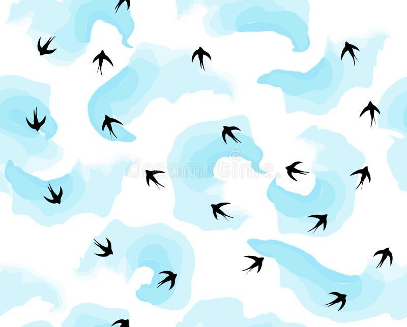 Летящие птицы в небе в облаках делают по образцу вектор стоковые изображения rf
