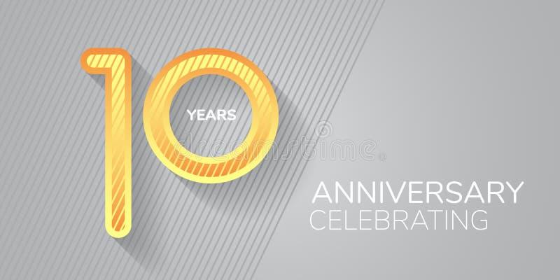 10 лет векторная икона, логотип Неоновый номер и текст для 10-летия иллюстрация штока