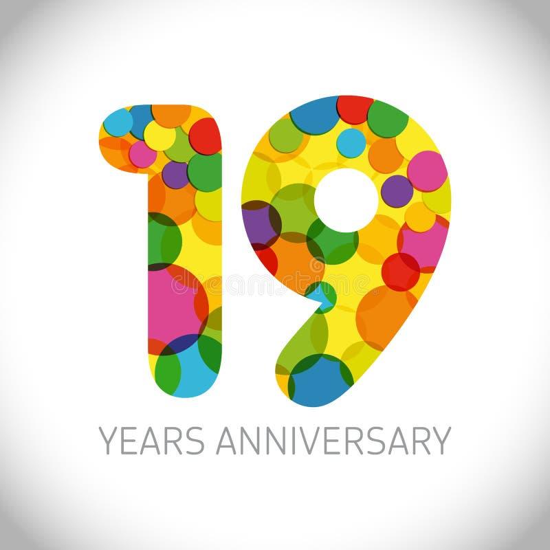 19 лет годовщины иллюстрация вектора
