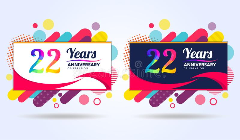 22 лет годовщины с современными квадратными элементами дизайна, красочного варианта, дизайна шаблона торжества, шаблона торжества иллюстрация вектора
