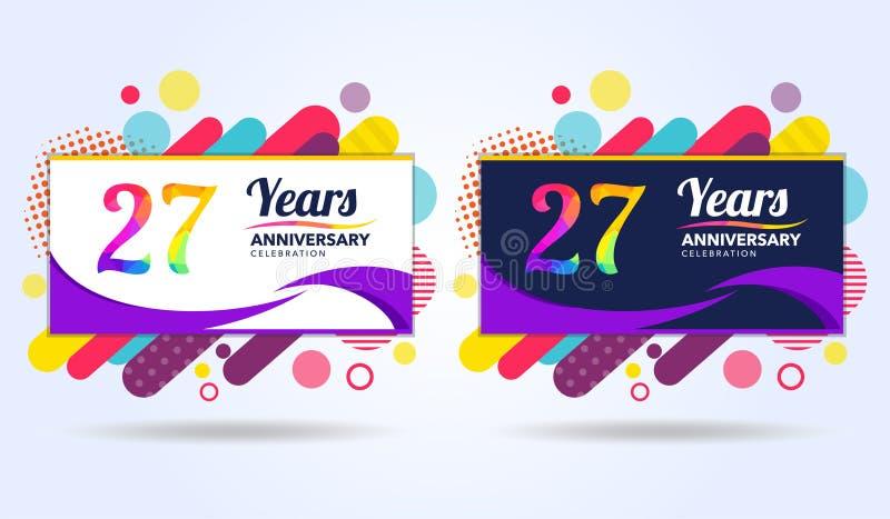 27 лет годовщины с современными квадратными элементами дизайна, красочного варианта, дизайна шаблона торжества, шаблона торжества иллюстрация вектора