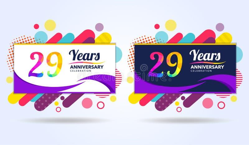 29 лет годовщины с современными квадратными элементами дизайна, красочного варианта, дизайна шаблона торжества, шаблона торжества бесплатная иллюстрация
