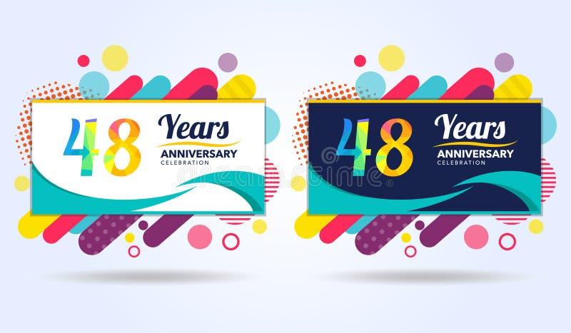 48 лет годовщины с современными квадратными элементами дизайна, красочного варианта, дизайна шаблона торжества, шаблона торжества бесплатная иллюстрация