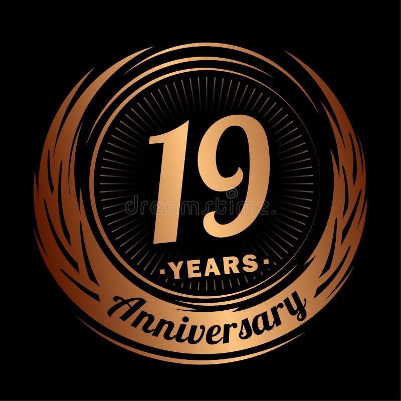 19 лет годовщины Элегантный дизайн годовщины девятнадцатый логотип бесплатная иллюстрация