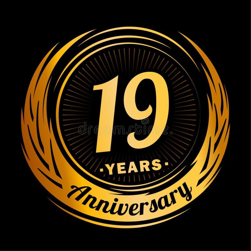 19 лет годовщины Элегантный дизайн годовщины девятнадцатый логотип иллюстрация штока