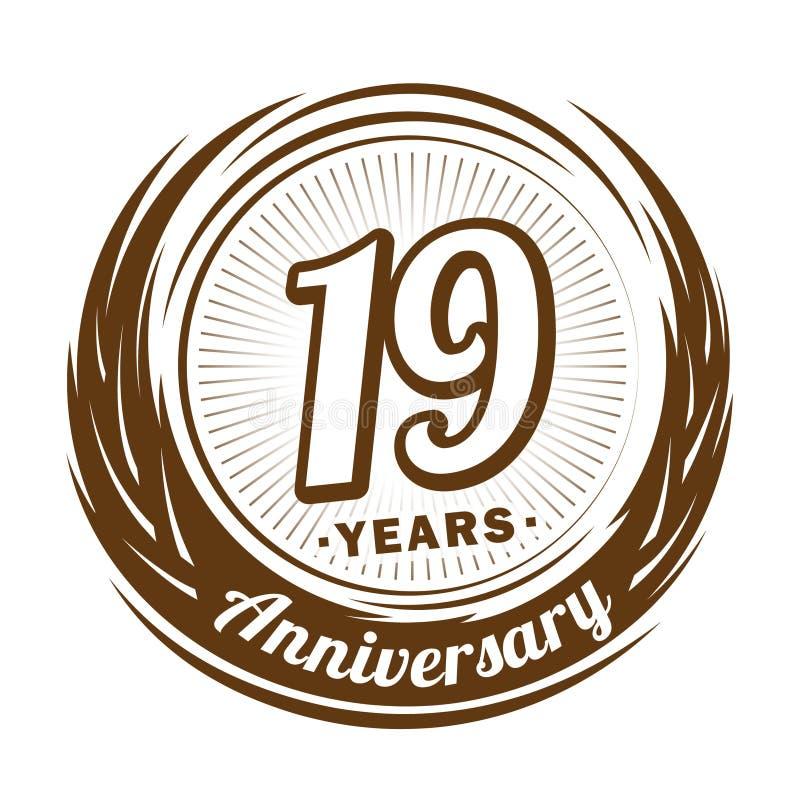 19 лет годовщины Элегантный дизайн годовщины девятнадцатый логотип иллюстрация вектора