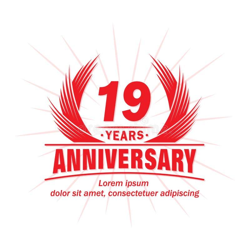 19 лет годовщины Элегантный дизайн годовщины девятнадцатый логотип лет иллюстрация штока