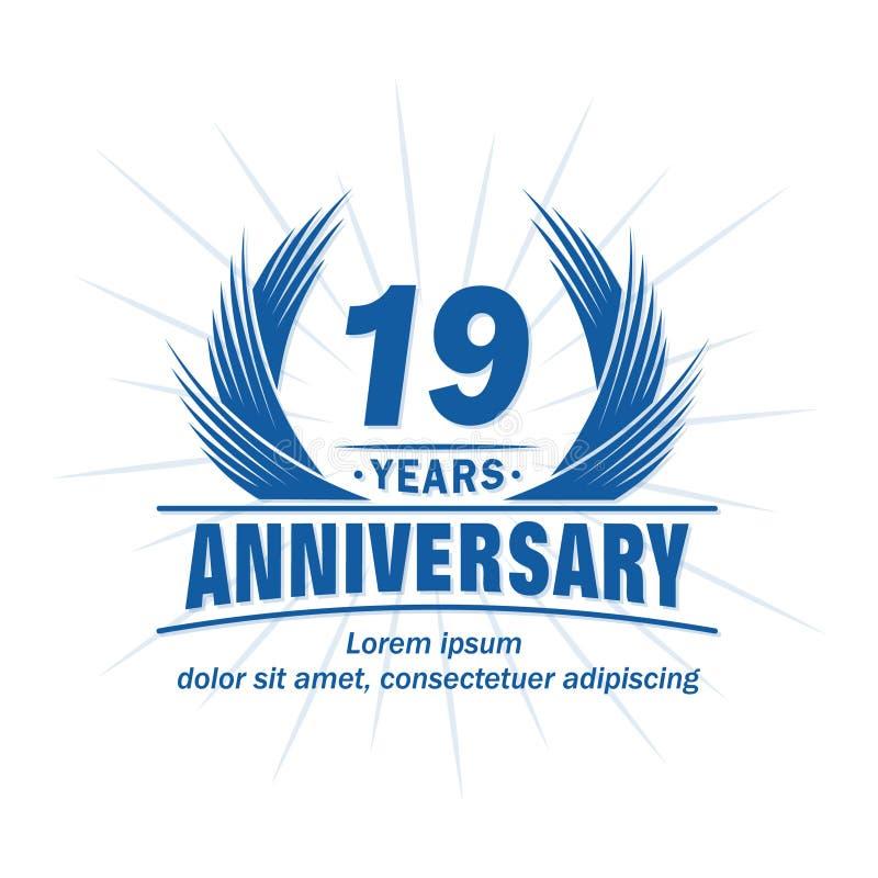 19 лет годовщины Элегантный дизайн годовщины девятнадцатый логотип лет бесплатная иллюстрация