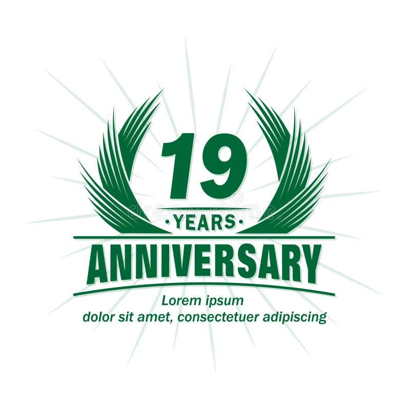 19 лет годовщины Элегантный дизайн годовщины девятнадцатый логотип лет иллюстрация вектора