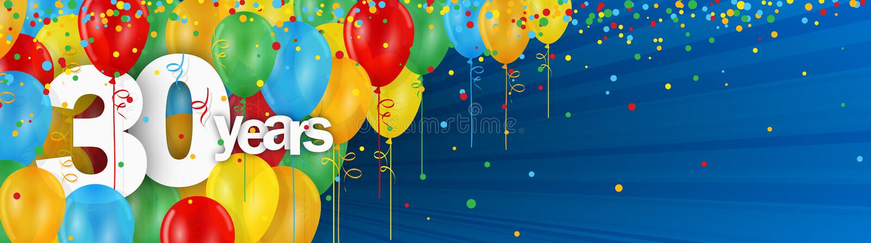 30 лет карточки знамени с красочными воздушными шарами и confetti иллюстрация штока
