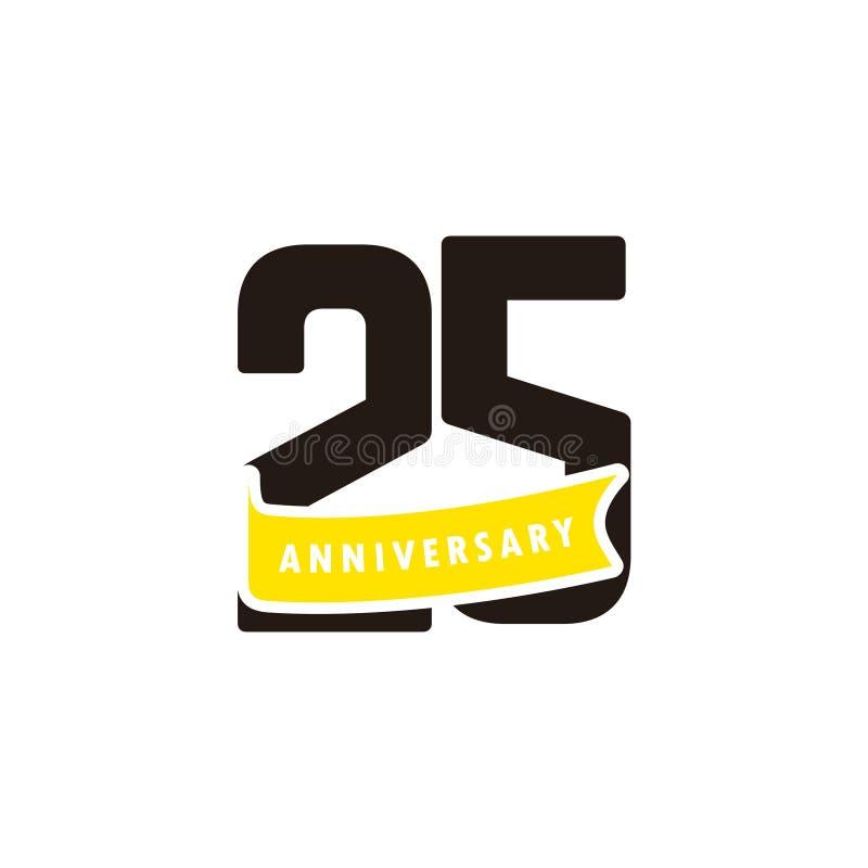 25 лет номера годовщины с желтой иллюстрацией дизайна шаблона вектора торжества ленты иллюстрация штока