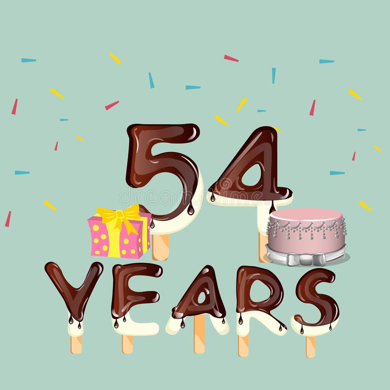 54 лет поздравительой открытки ко дню рождения с днем рождений иллюстрация вектора
