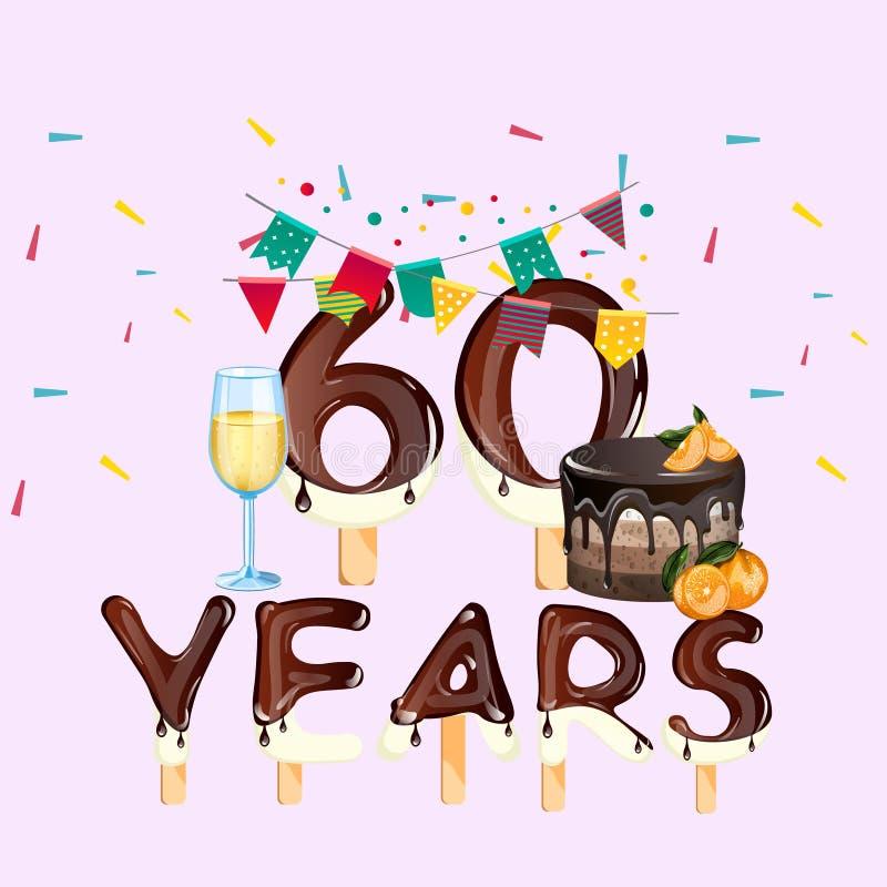 60 лет поздравительой открытки ко дню рождения с днем рождений иллюстрация вектора