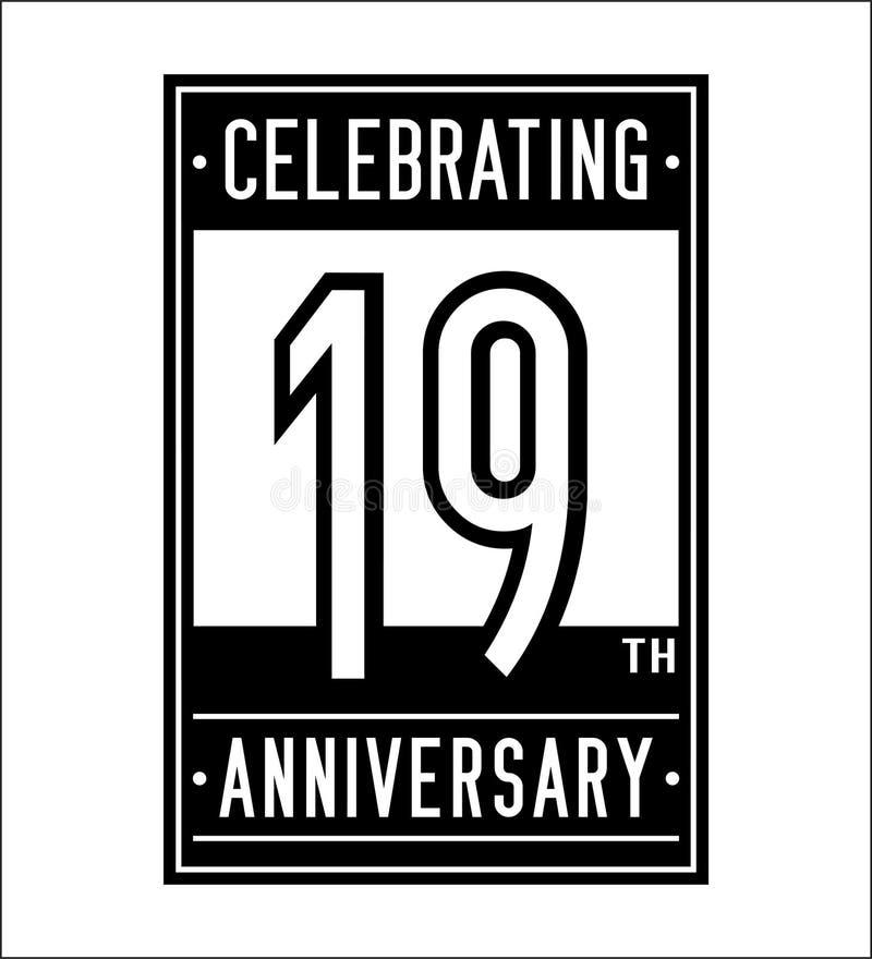19 лет празднуя шаблон дизайна годовщины девятнадцатый логотип r бесплатная иллюстрация