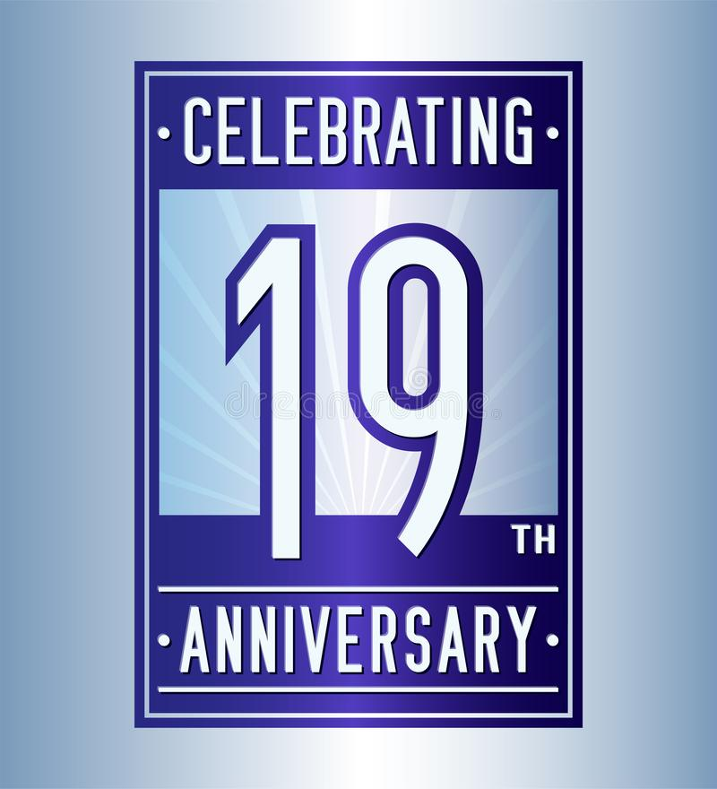19 лет празднуя шаблон дизайна годовщины девятнадцатый логотип r иллюстрация вектора