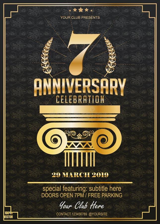 7 лет торжества годовщины Логотип годовщины иллюстрация вектора