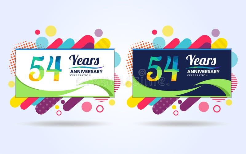 54 лет хлопают элементы современного дизайна годовщины, красочный вариант, дизайн шаблона торжества, дизайн шаблона торжества поп иллюстрация штока