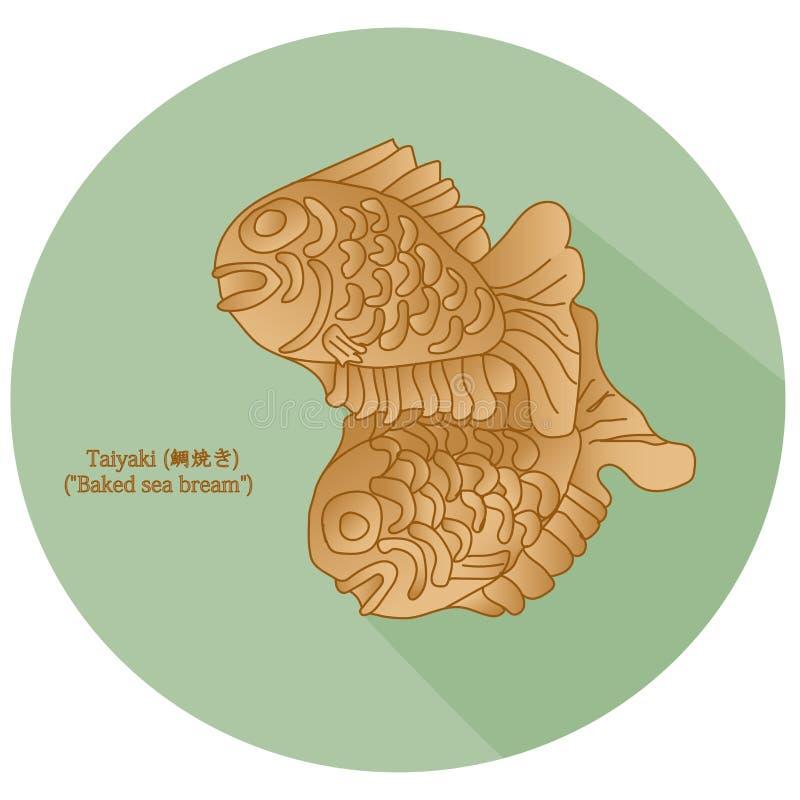 ` Леща моря Taiyaki испеченное ` японский в форме рыб торт Самая общая завалка затир красной фасоли сделанный от услащенного azuk иллюстрация штока