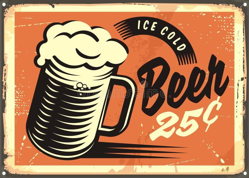 Лед - знак паба холодного пива ретро иллюстрация вектора