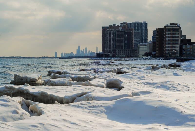 Ледистый берег Чикаго стоковые фотографии rf
