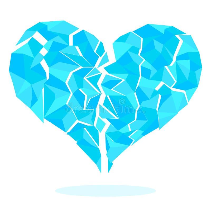 Ледистым части разделенные сердцем изолированные на белой предпосылке иллюстрация вектора