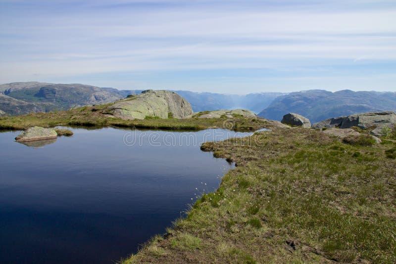 Ледниковое озеро и Lysefjord стоковое фото