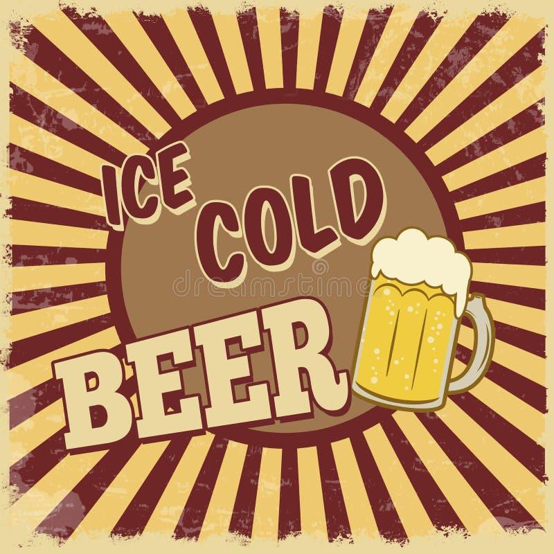 Лед - плакат холодного пива иллюстрация вектора