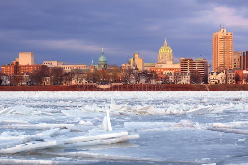 Лед реки на Harrisburg стоковое фото rf