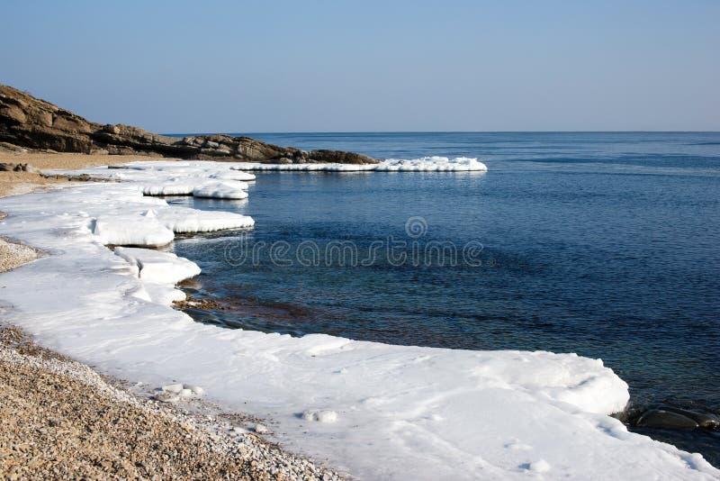 Ледяное поле, ледистый берег моря стоковые фотографии rf