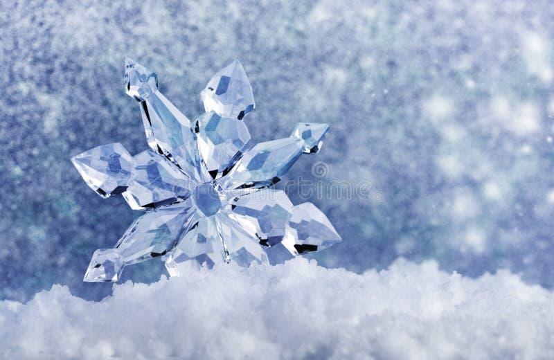 Ледяной кристалл на снеге стоковое фото
