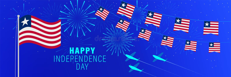 Либерии -гопоздравительная открытка Дня независимости в июле 26 Предпосылка торжества с фейерверками, флагами, флагштоком и текс стоковые изображения rf