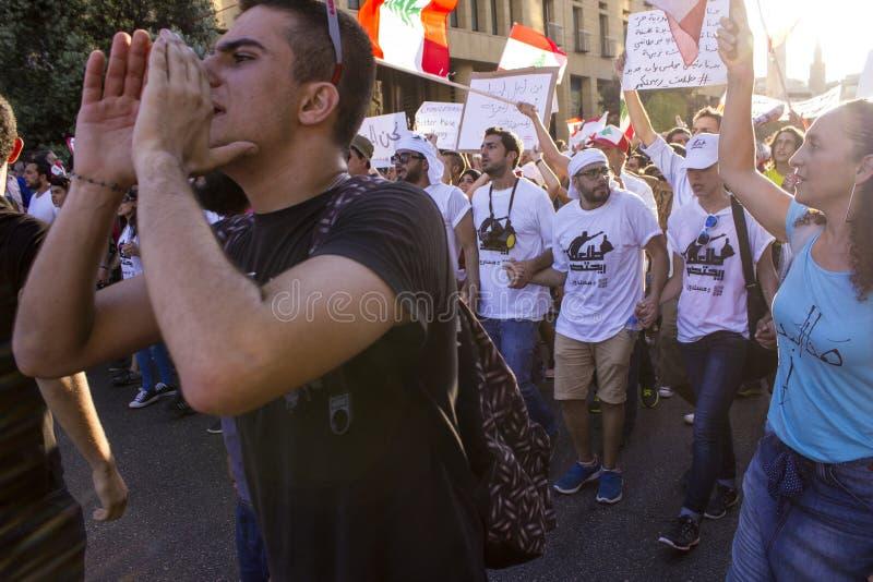 Ливанские протесты Люди с флагами Ливана на марша протеста Мирный протест поднимал стоковое изображение rf