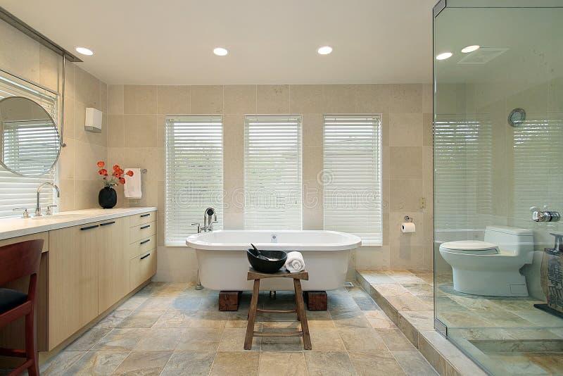 ливень ванны стеклянный мастерский стоковое фото