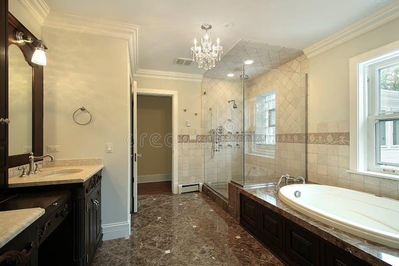 ливень ванны стеклянный мастерский стоковые фотографии rf