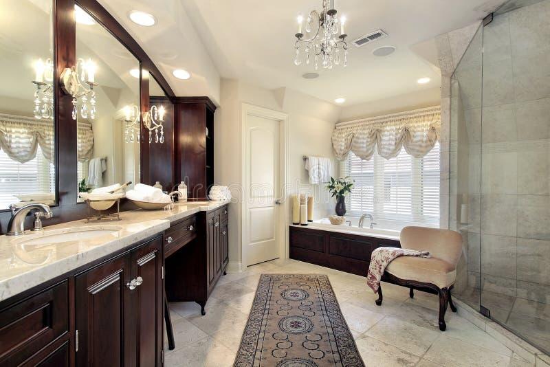 ливень ванны стеклянный мастерский стоковое изображение rf