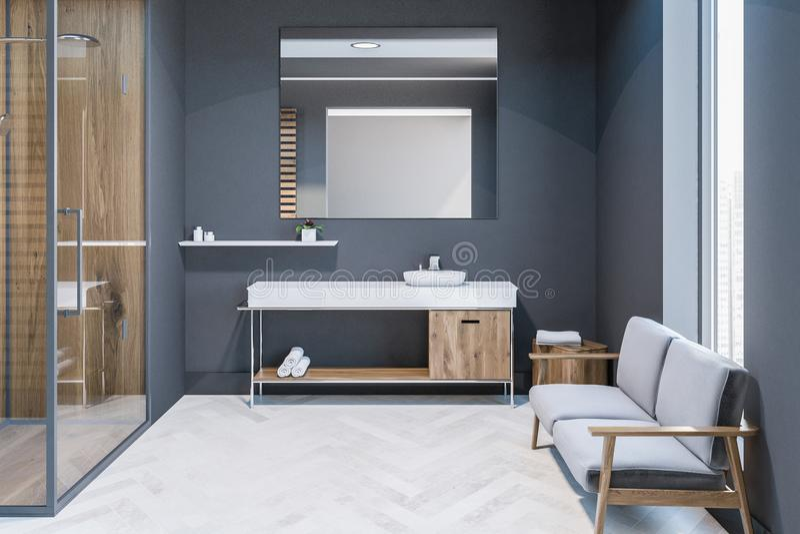Ливень двери серой ванной комнаты внутренний стеклянный, раковина бесплатная иллюстрация