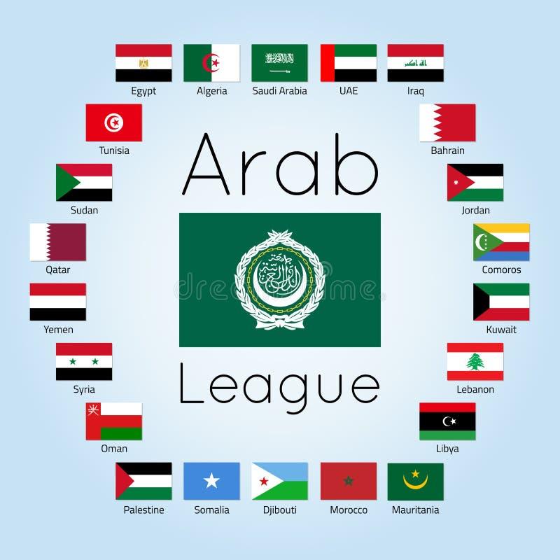 Лига арабских государств, флаги арабских стран, иллюстрация вектора бесплатная иллюстрация