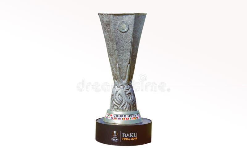 Лига чемпионов UEFA Выпускные экзамены 2019 Баку предпосылок кубка УЕФА белые Uefa Coupe Лига 2019 Европы стоковое изображение rf