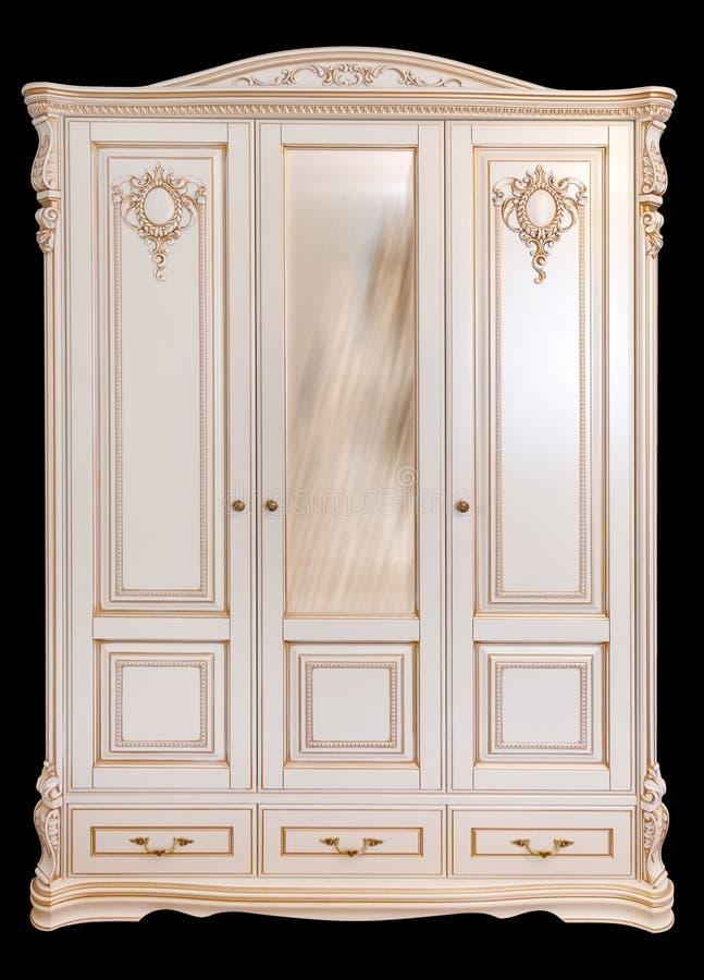 Лидирующая роскошная мебель, шкаф Мебель в классическом стиле белое дерево с отделкой золота патина высекать Вид спереди изолиров стоковое фото