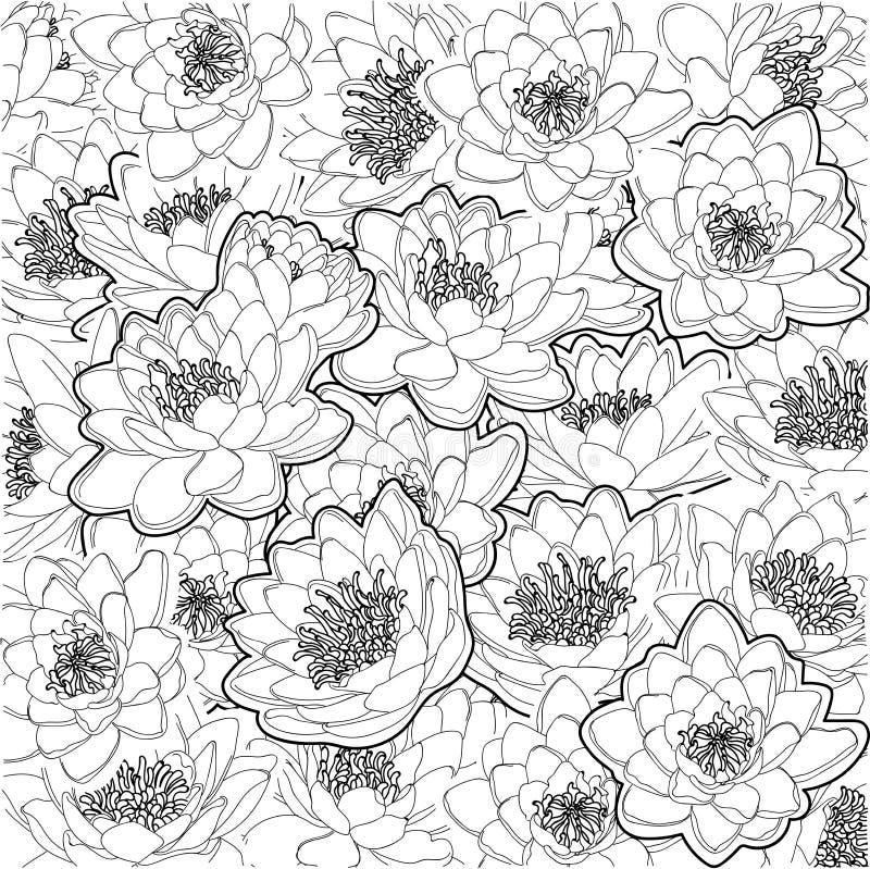Лилии воды орнамента иллюстрация штока