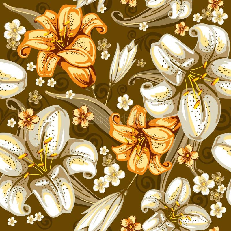 лилии делают по образцу безшовное иллюстрация штока