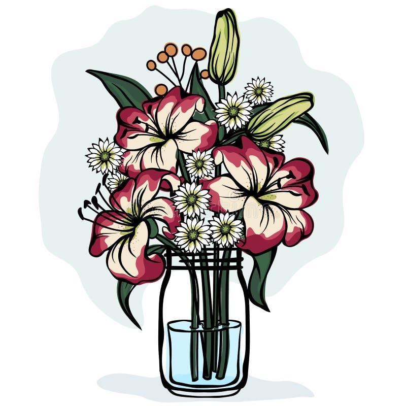 Лилия и хризантема в стеклянном опарнике Икона вектора на белой предпосылке бесплатная иллюстрация