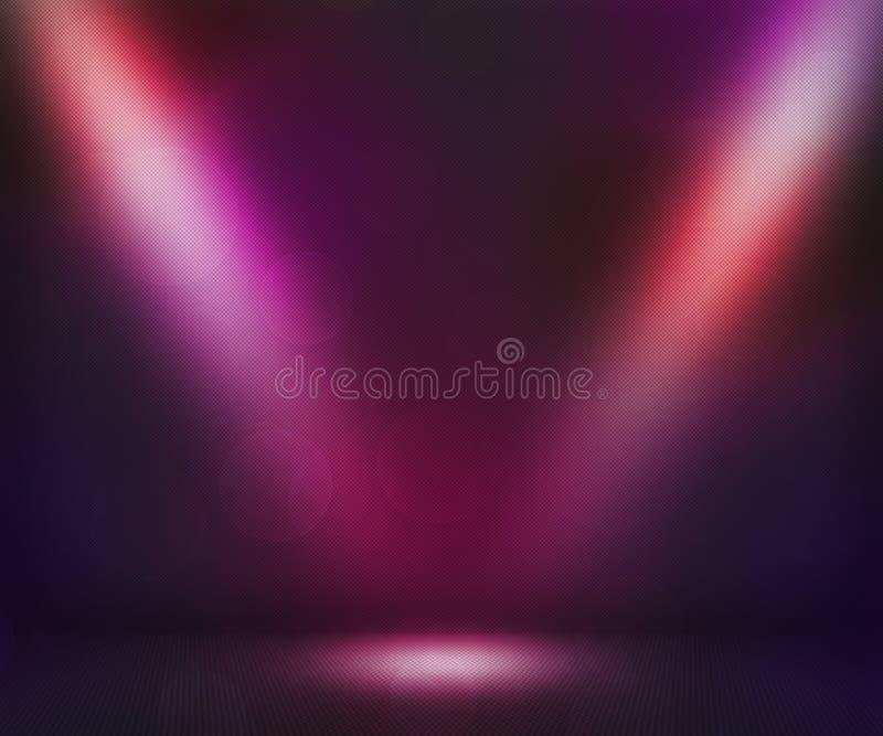 Лиловая темнота Spotlights комната иллюстрация вектора